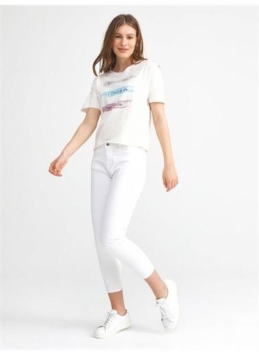 Xint XINT Yuvarlak Yaka Pamuklu Rahat Kesim Baskılı Tişört Beyaz